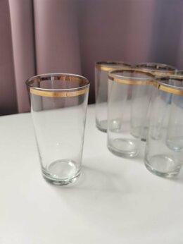 Бокалы и стаканы - Стаканы с золотой каёмкой 6 штук, 0