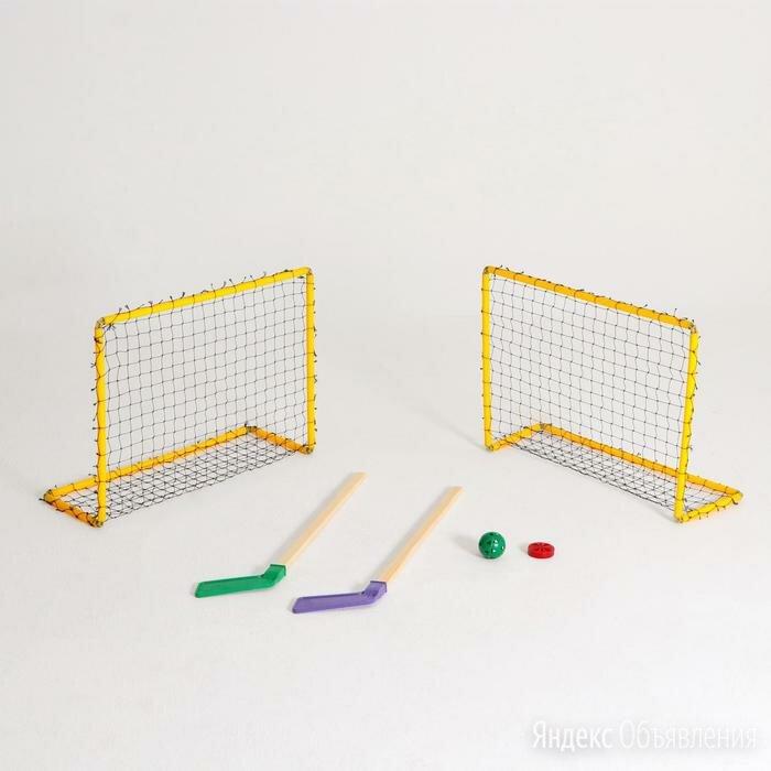 Хоккейный набор 2 клюшки,  2 ворот с сеткой, шайба, мячик, в коробке, микс по цене 1828₽ - Клюшки, фото 0