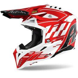 Спортивная защита - Шлем кроссовый Airoh (Айрох) AVIATOR 3 RAMPAGE RED GLOSS (M), 0