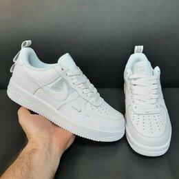 Кроссовки и кеды - Кроссовки Nike Air Force 1 кожаные белые (A763), 0