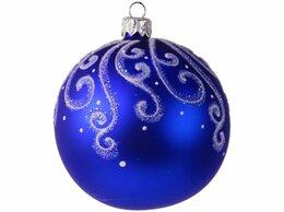 Ёлочные украшения - Елочный шар СНЕЖНЫЙ УЗОР синий, 85 мм, Елочка, 0