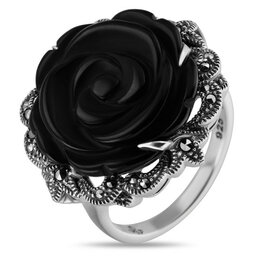 Кольца и перстни - Серебряное кольцо с черным ониксом и марказитами…, 0