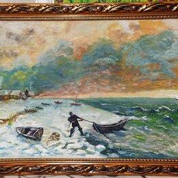 Картины, постеры, гобелены, панно - Картина маслом. Рыбак и море. Холст на ДВП 37Х76 , 0