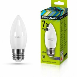 Лампочки - Светодиодная лампа E27 7W 6500K C35 Ergolux…, 0