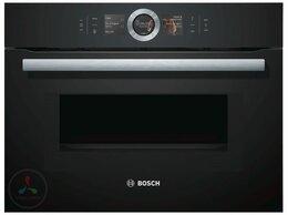 Духовые шкафы - Электрический духовой шкаф с СВЧ Bosch CMG6764B1, 0