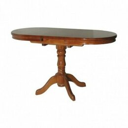 Столы и столики - Стол Овальный деревянный обеденный одна ножка, 0