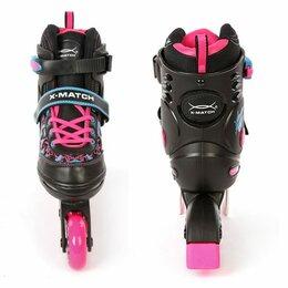 Скейтборды и лонгборды - Роликовые коньки черно-розовые, размер 30-33,  X-Match 64611, 0