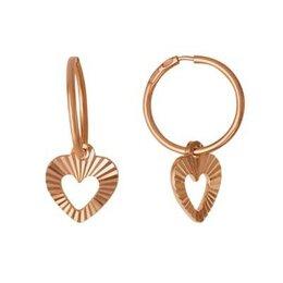 Комплекты - Серебряные серьги колечки и сердце алмазная грань , 0