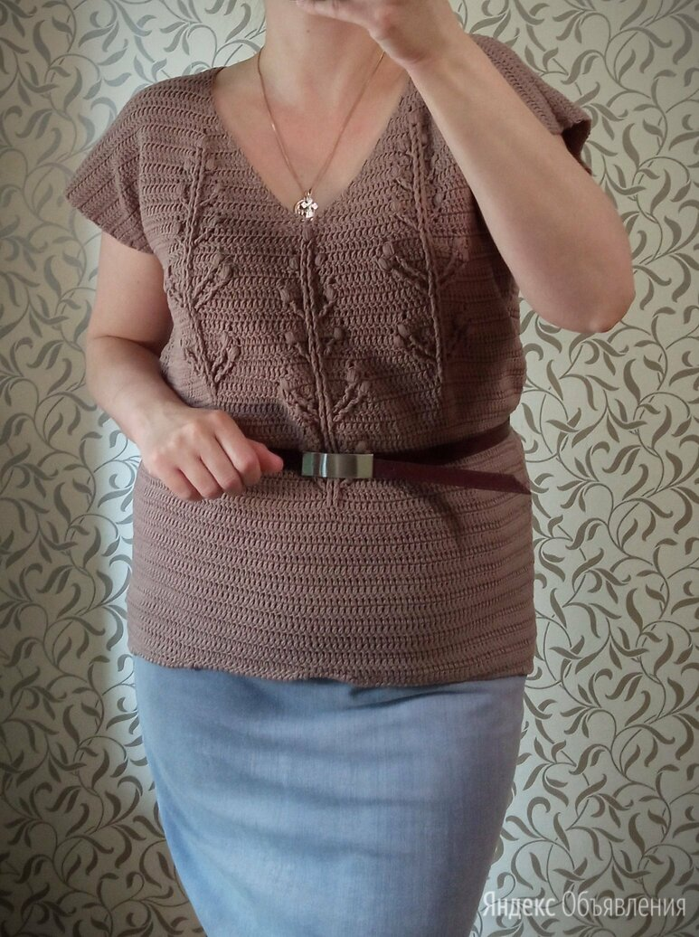 Туника-футболка вязаная полухлопок по цене 3900₽ - Блузки и кофточки, фото 0