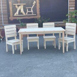 Столы и столики - Стол и стулья из дерева , 0