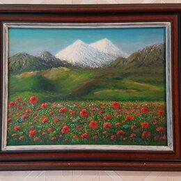 Картины, постеры, гобелены, панно - Картина Маковое поле на холсте 24 х 18 см, 0