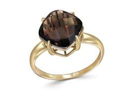 Кольца и перстни - Кольцо с раух топазом из жёлтого золота, 0
