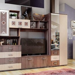 Шкафы, стенки, гарнитуры - Стенка Белла БТС с двухдверным шкафом ясень шимо…, 0