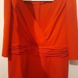 Платья - Красное платье с рукавами в драпировку, 0