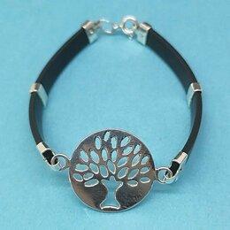 Браслеты - Женский браслет с каучуком и серебряным деревом…, 0