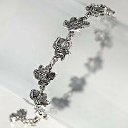 Браслеты - Браслет Магнолия серебряный, 0
