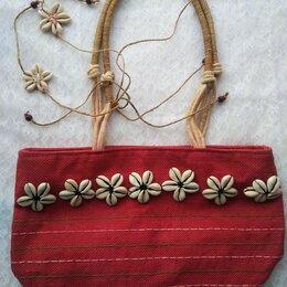 Сумки - Текстильные винтажная летняя сумка с ракушками, 0