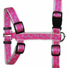 Шлейки  - УЮТ Шлейка 1,6х25-40 см розовая, рисунок  лапки , двойная с тесьмой, 0