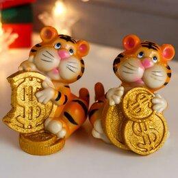 "Копилки - Копилка полистоун ""Тигрёнок с золотыми монетками"" МИКС 12х9х10 см, 0"