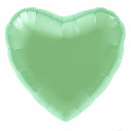 Воздушные шары - Фольгированное сердце, Мятный, сатин, 0