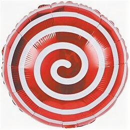 Новогодний декор и аксессуары - Фольг. шар Круг, спираль, красная, 0