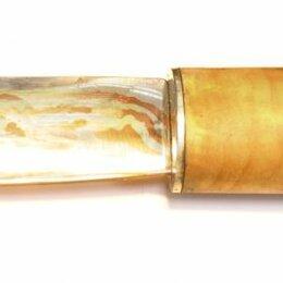 Ножи кухонные - нож в технике «МОКУМЕ ГАНЕ», СЕРЕБРО, МЕДЬ. НАТУРАЛЬНАЯ КОЖА И БЕРЕЗОВЫЙ КАП, 0