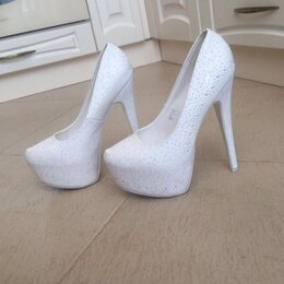 Туфли - Туфли белые на платформе , 0