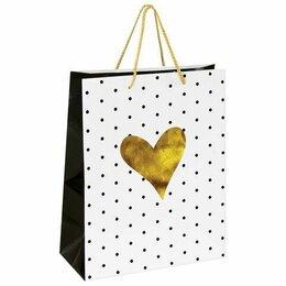 Упаковочные материалы - Пакет  бумаж/лам  26*12,7*32,4см, Золотое сердце  (12), 0