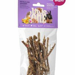 Лакомства  - Little One Лакомые ветви с лепестками и травами. Лакомство для всех видов грызун, 0