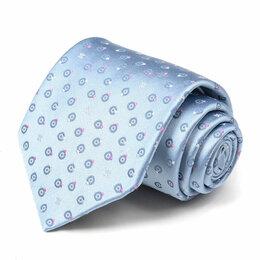 Галстуки и бабочки - Блестящий светло-синий галстук с кружочками Celine 63580, 0