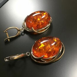 Серьги - Крупные серебряные серьги с иск. янтарем, 0