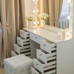 Зеркала - Гримерное зеркало с ящиками и подсветкой белый, 0