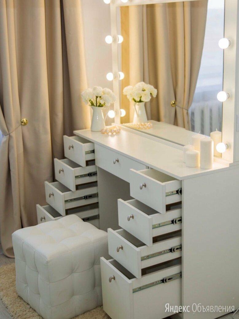 Туалетный столик с зеркалом с ящиками и подсветкой белый по цене 17600₽ - Зеркала, фото 0
