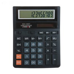 Калькуляторы - Калькулятор 12-разрядный, 19,4*15*2,8см индивидуальная упаковка арт.SDC-888T, 0
