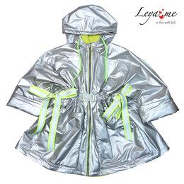 Куртки и пуховики - Серебристая куртка для девочки, с неоновыми…, 0