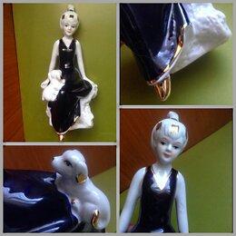 Интерьер - Девушка с собачкой статуэтка фарфоровая, 0