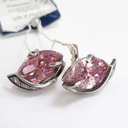 Серьги - Серебряные серьги с розовым кварцем, 0