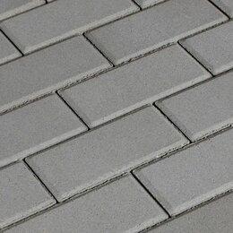 Тротуарная плитка, бордюр - Тротуарная брусчатка серая, 200*100*6 мм, 0