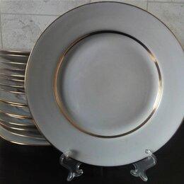 Тарелки - Тарелки для вторых блюд с позолотой. Дулево, 0
