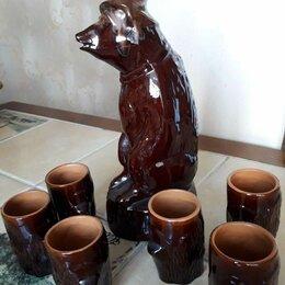 Кувшины и графины - Штоф Медведь с пеньками керамика СССР, 0