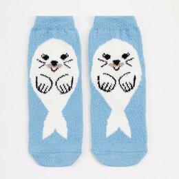 Домашняя одежда - Носки женские махра-пенка Нжмп2242-10 Нерпа цвет голубой, р-р 23-25 (р-р обув..., 0