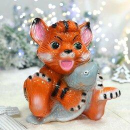 """Копилки - Копилка """"Тигр Тимка с рыбкой"""", символ года 2022, оранжевая, глазурь, керамика..., 0"""