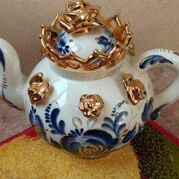 Заварочные чайники - Чайник гжель с золотой розочкой Большой фарфоровый чайник, 0