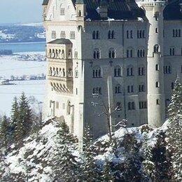 Новогодний декор и аксессуары - Замок на горе фотоопанно на флизелине Divino Decor 100*270 см (Россия) А2-0, 0