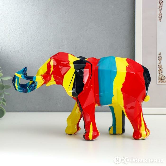 Сувенир полистоун 'Слон' подтёки краски 16,5х10х27 см по цене 4250₽ - Сувениры, фото 0