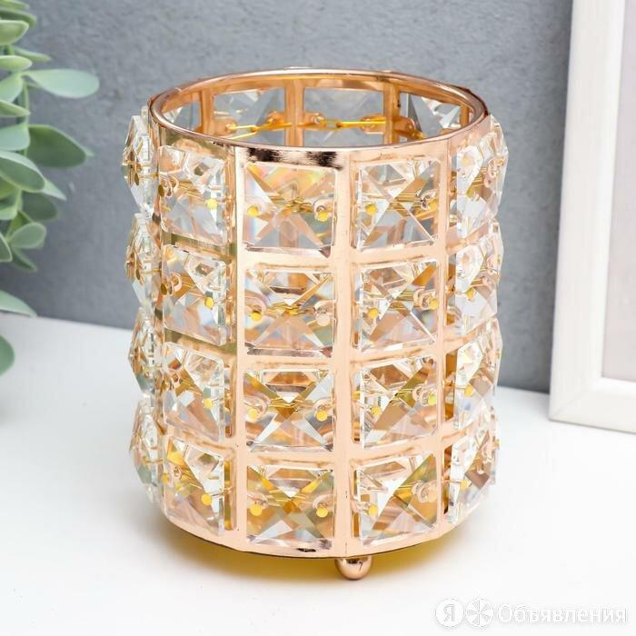 Подсвечник металл, стекло на 1 свечу 'Кристаллы и цилиндр' золото 12х10х10 см по цене 1121₽ - Интерьерная подсветка, фото 0
