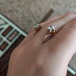 Серьги - Золотые сережки  с фианитом , 0