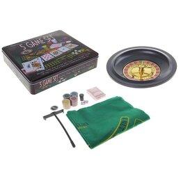 Настольные игры - Набор:рулетка карты 54 шт, фишки 100 шт, куб. 4 шт, сукно, 0