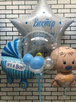 Воздушные шары - Гелиевые шары на выписку с пупсом, 0