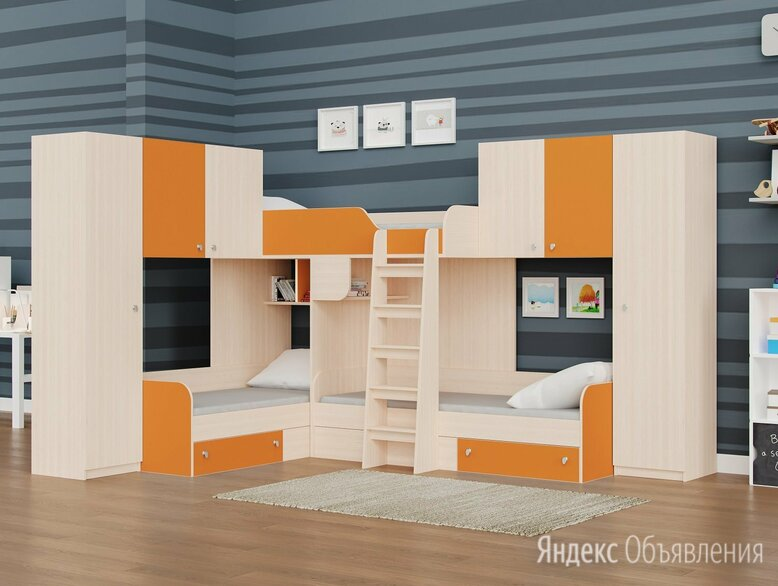 Детская трехместная кровать ТРИО/3 дуб молочный-оранжевый по цене 44090₽ - Кровати, фото 0